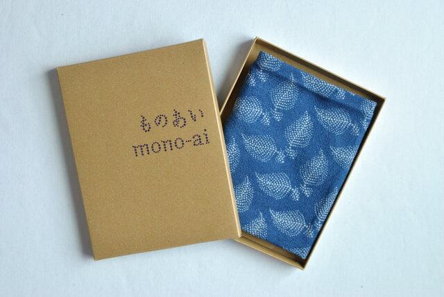 藍染×型染てぬぐい(羽根)の画像1枚目