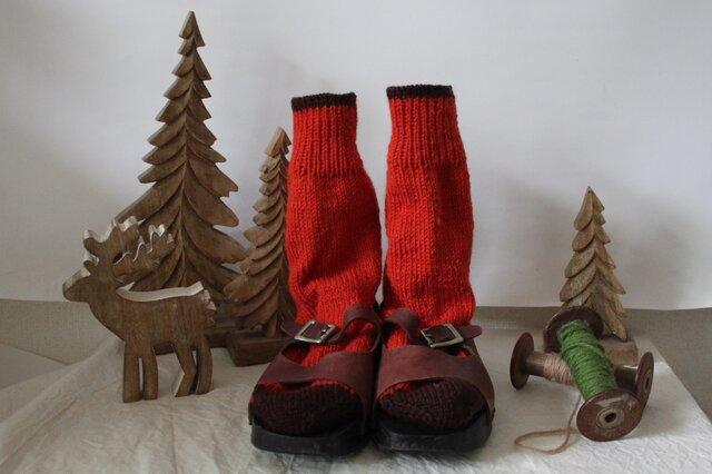 手編みの靴下 オレンジの画像1枚目
