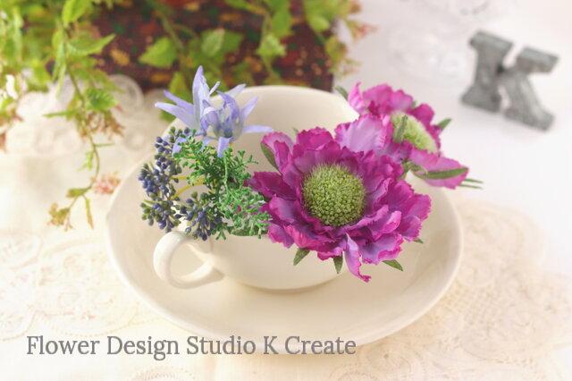 紫のスカビオサのUピン(3本セット) 紫 パープル 髪飾り 着物髪飾り 和装髪飾りの画像1枚目