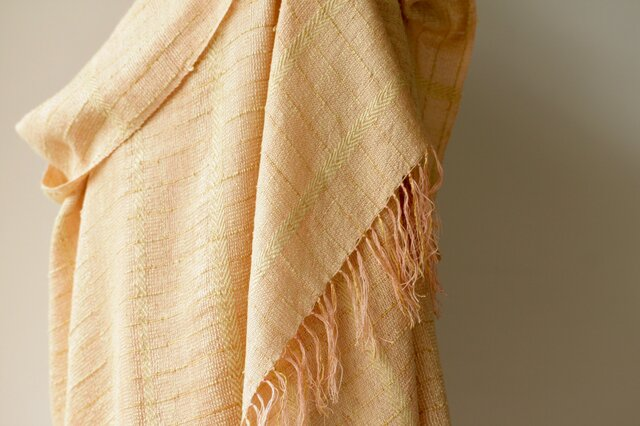 絹紡糸,アルパカx カシミヤストール sj190102の画像1枚目