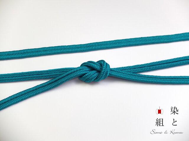 帯締めゆるぎ組(孔雀青)正絹の画像1枚目