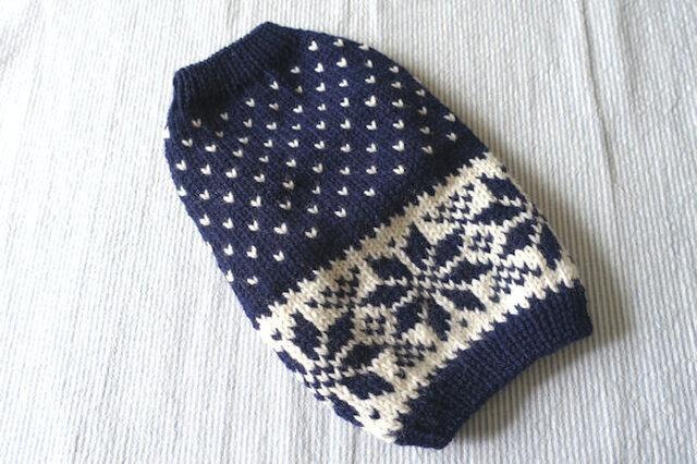 雪模様のセーターМS「ネービー」犬のセーターの画像1枚目