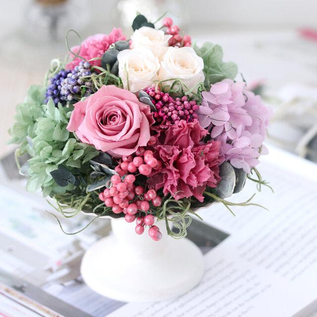 myrte reine (ミルトレーヌ) ブリザーブドフラワー ピンク 結婚祝い・誕生日・退職祝いの画像1枚目