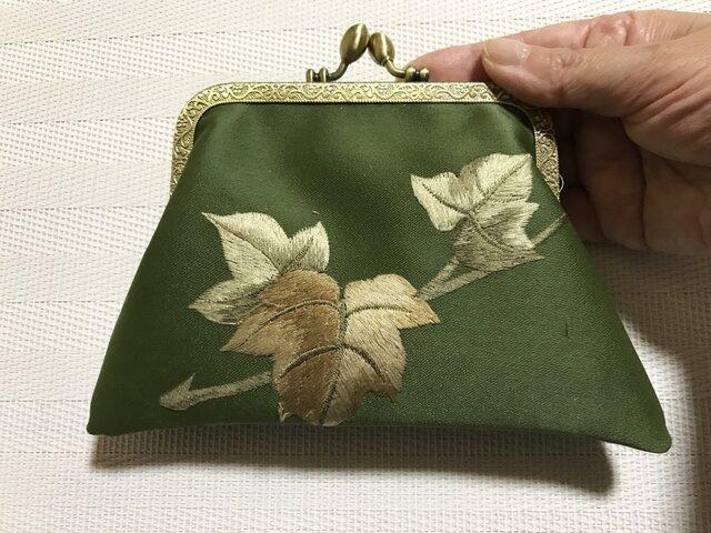 がまぐち・角型  抹茶色 ぶどうの葉 刺繍帯地の画像1枚目