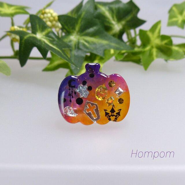 ハロウィンカボチャのヘアゴム ホムポムの画像1枚目