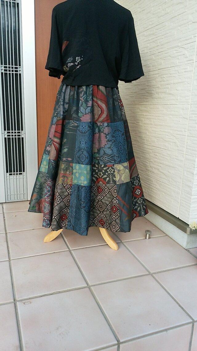 着物リメイク パッチワーク仕立てのフレアースカート ☆ 受注製作品の画像1枚目
