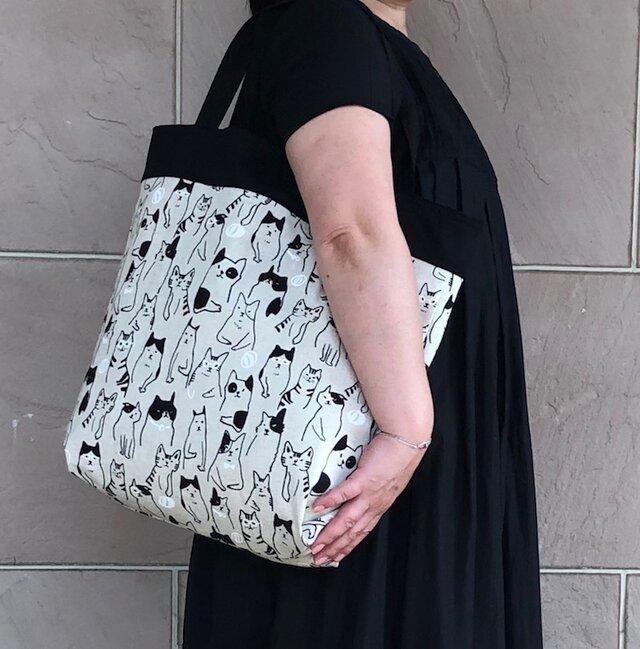 コンパクト おかいのもかばん  ねこ・ねこ 受注製作の画像1枚目