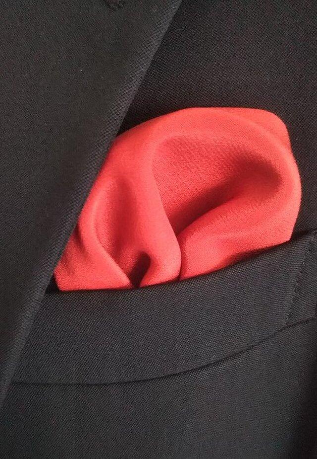 伝統の茜染 シルクポケットチーフの画像1枚目