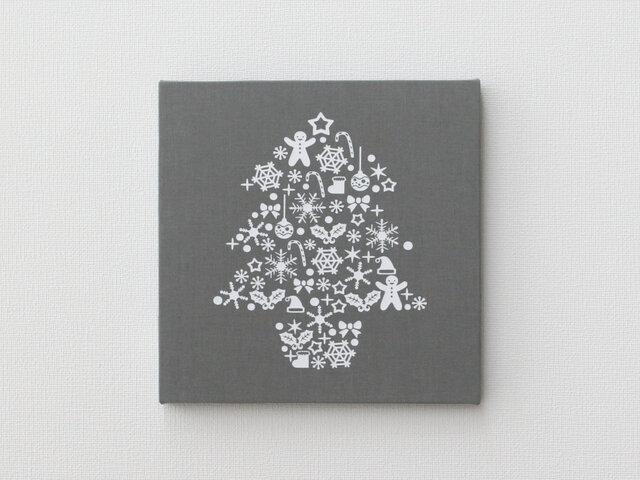 クリスマスツリーのファブリックパネル M-501◆グレー/白の画像1枚目