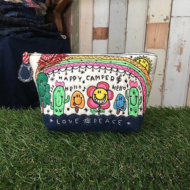キノコ&サボテン刺繍マチ付きポーチ大の画像1枚目
