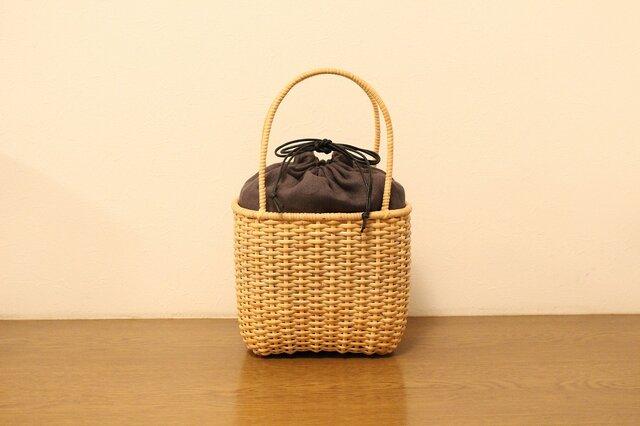 皮籐のかごバッグ(内袋/チャコールグレー)の画像1枚目