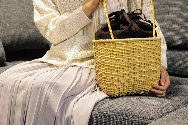 皮籐のかごバッグ(内袋/茶、えんじ、ブラック)の画像1枚目