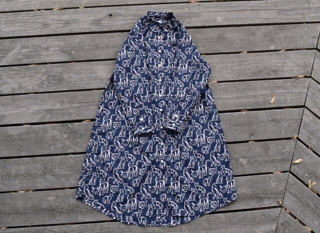 『Nyanco』shirt onepiece 播州織 シャツワンピースの画像1枚目