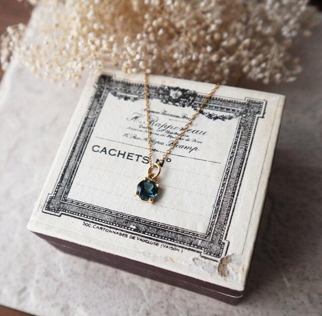 【14kgf】宝石質ロンドンブルートパーズの一粒ネックレス*11月誕生石の画像1枚目