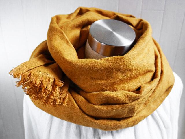 秋冬 あったか起毛リネンのストール ダーク マスタードの画像1枚目