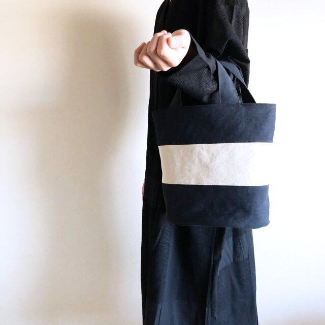 OVALTOTE - stripe - (M) / black & ecruの画像1枚目
