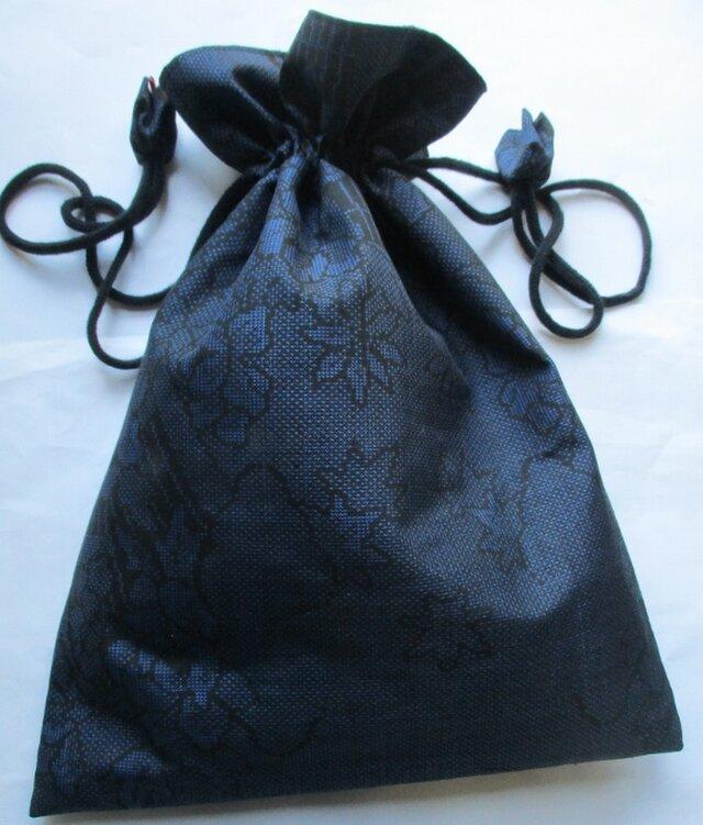 4448 藍大島紬で作った巾着袋の画像1枚目