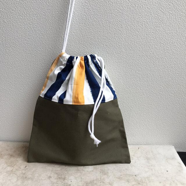 通園グッズ♪ストライプの巾着袋(BA-081)の画像1枚目