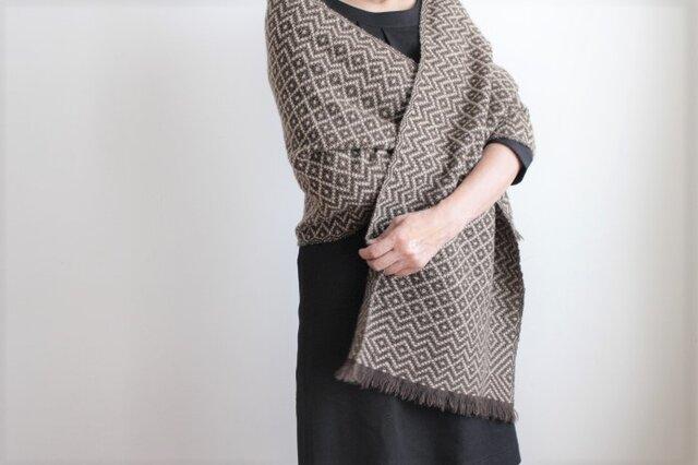 ヤクとカシミヤ <冬のダイヤモンド>手織りストールの画像1枚目