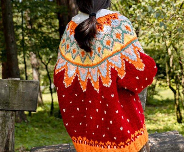 【限定】お花たっぷり ウール・ セーター ニット JND001712の画像1枚目
