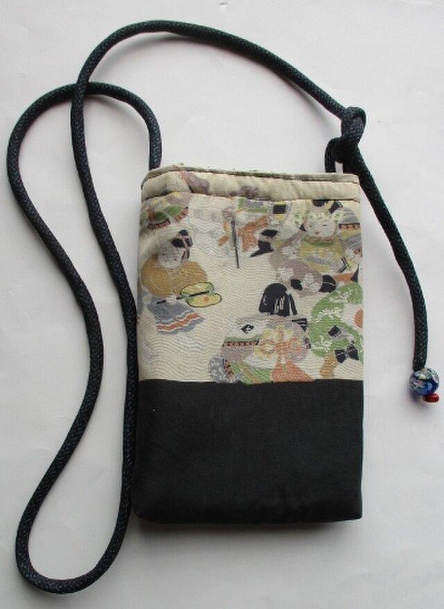 4451 お宮参り着と藍大島紬で作ったポシェットの画像1枚目