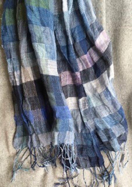 ■手織/冬のリネン(亜麻)ビックストールの画像1枚目
