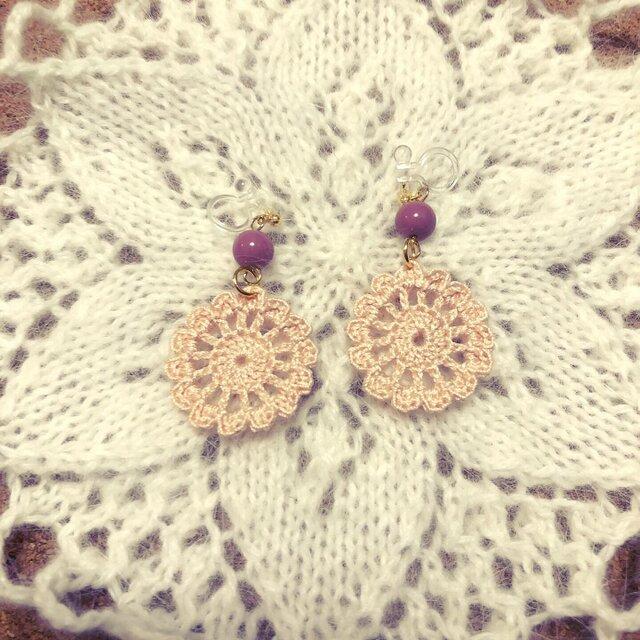 【オーダー品】かぎ針編みのイヤリング2の画像1枚目