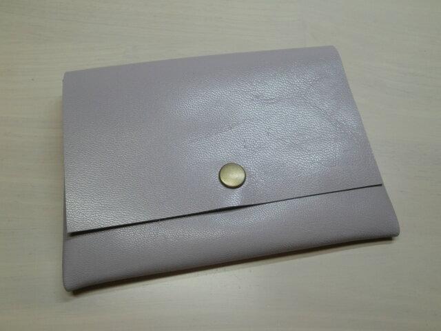 ★送料無料★ゴートスキン・B7対応パスポートケース・ライトパープル・カードポケット付き・0158の画像1枚目