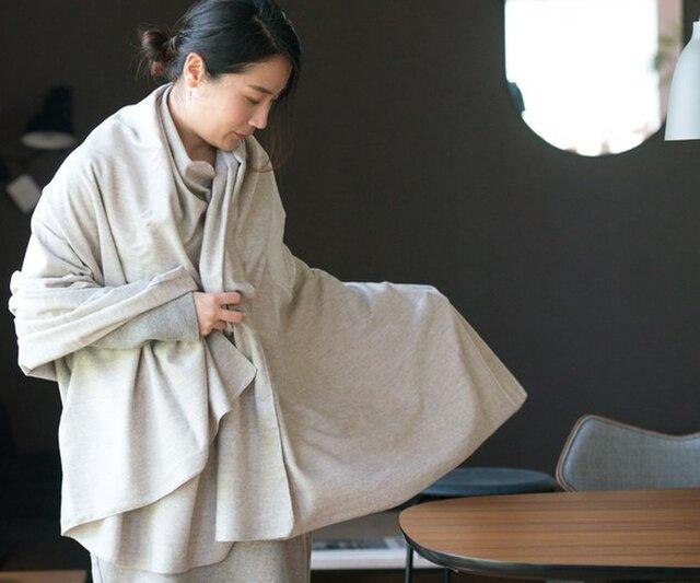 ヤク混 ネル生地大判ブランケットストール【Organic Cotton】の画像1枚目