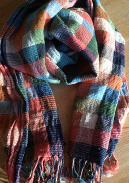◆手織/cottont・極細単糸/45×190ストールの画像1枚目