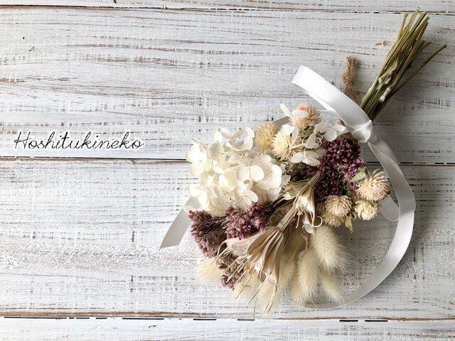 星月猫★フジバカマとニゲラオリエンタル ホワイトアナベルのミニスワッグ ドライフラワー花束の画像1枚目
