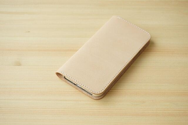 牛革 iPhone 11 Pro カバー  ヌメ革  レザーケース  手帳型  ナチュラルカラーの画像1枚目