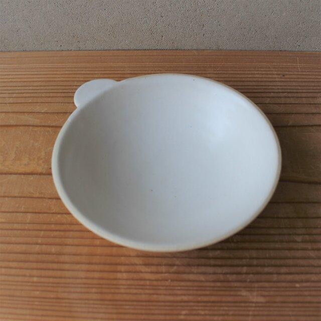 育てるウツワ 取ってつき 平鉢(地シリーズ)白 陶土の画像1枚目