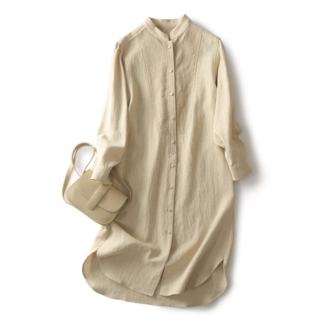 ★4周年記念キャンペーン★秋冬の綿麻ロングシャツ シャツワンピース 191007-1 の画像1枚目