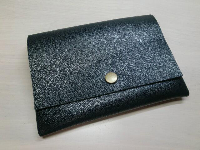 ★送料無料★ゴートスキン・B7対応パスポートケース・ダークネイビー・カードポケット付き・0157の画像1枚目