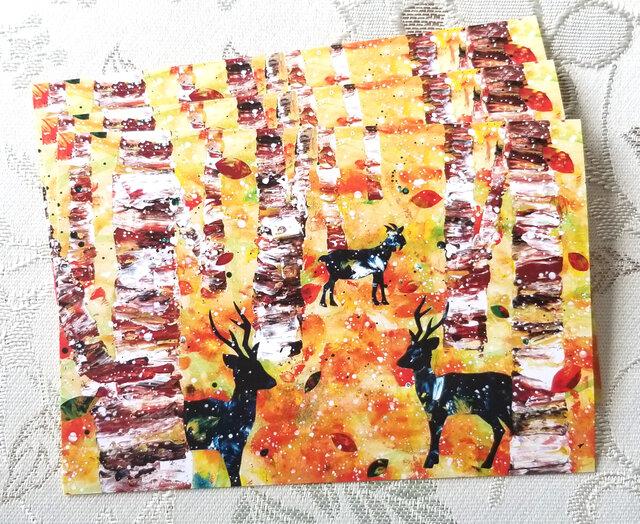 北欧風紅葉のポストカード3枚セットの画像1枚目