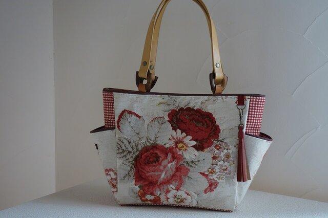 ロ様ご依頼品:サイドポケットバッグS(輸入生地アメリカ:ウェバリーNorfolk Rose)の画像1枚目