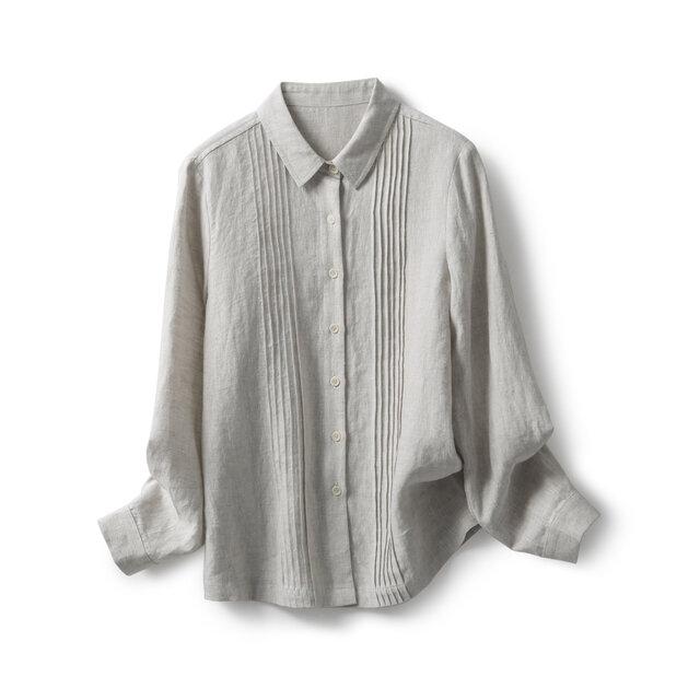 天然麻色 タック入りシャツ 長袖シャツ191012-1の画像1枚目