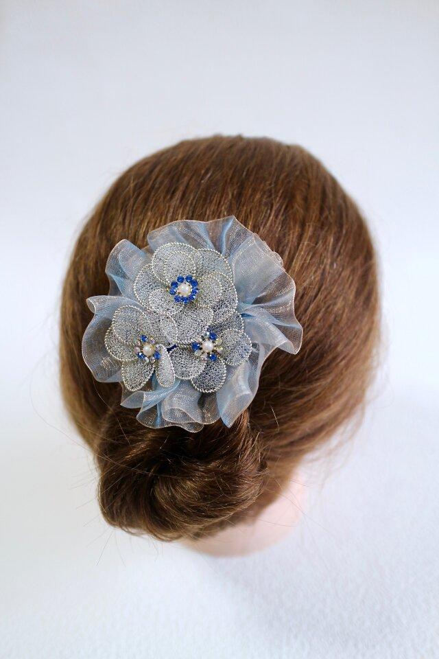 ウエディングの髪飾り サムシングブルーの画像1枚目