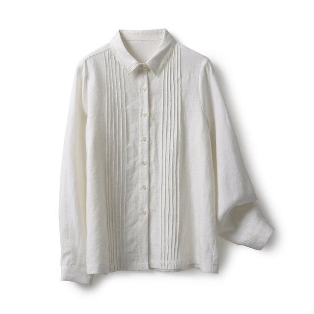 ★4周年記念キャンペーン★オフホワイト タック入りシャツ 長袖シャツ191012-2の画像1枚目