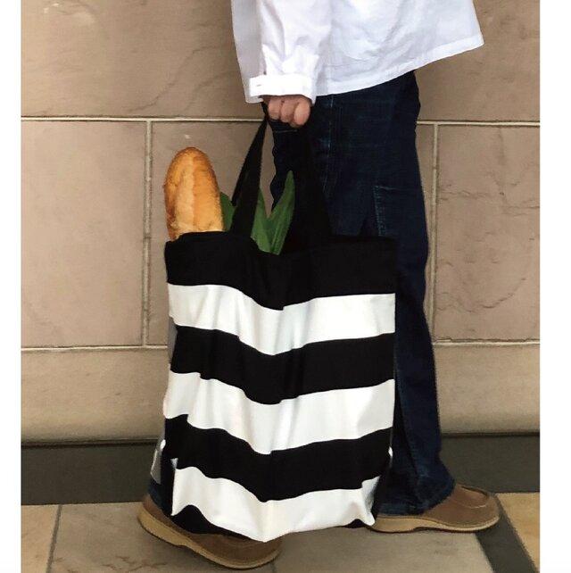コンパクト おかいのもかばん 黒✖️グレイボーダーの画像1枚目