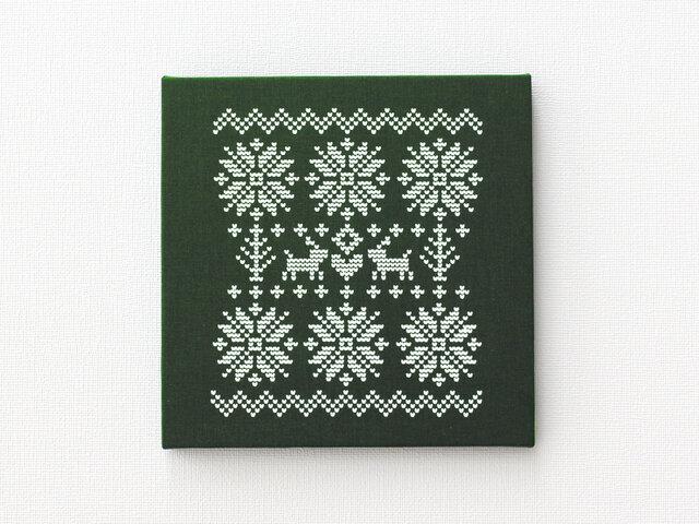ノルディック柄のファブリックパネル M-506◆濃緑/白の画像1枚目