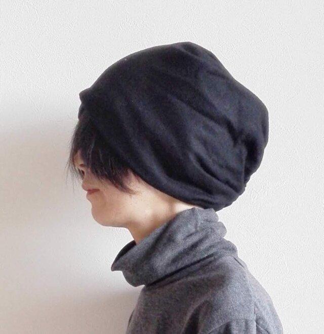 ターバンな帽子 黒リバーシブル 送料無料の画像1枚目