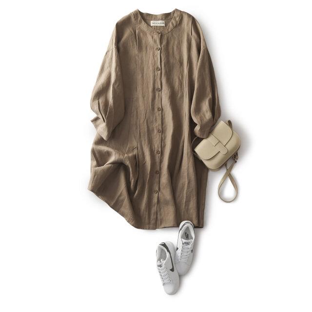 ★4周年記念キャンペーン★着こなしに差をつける 麻のロングシャツ ワンピース 薄手ロングアウター191011-1の画像1枚目