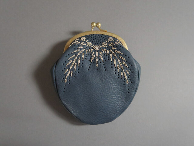 r&l stitch pouch (blue)の画像1枚目