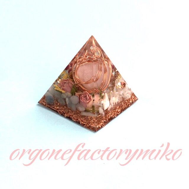 ローズクォーツタンブル 六芒星 癒し 愛情 美の象徴 幸運メモリーオイル入 ピラミッド オルゴナイトの画像1枚目