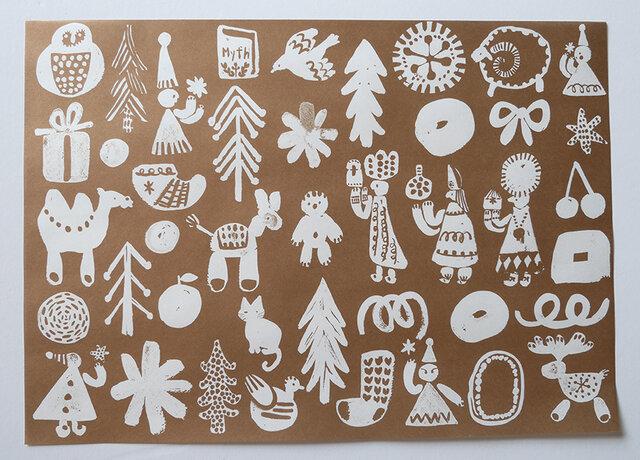A4サイズ 包装紙/ラッピングペーパー 『クリスマス』30枚入りの画像1枚目