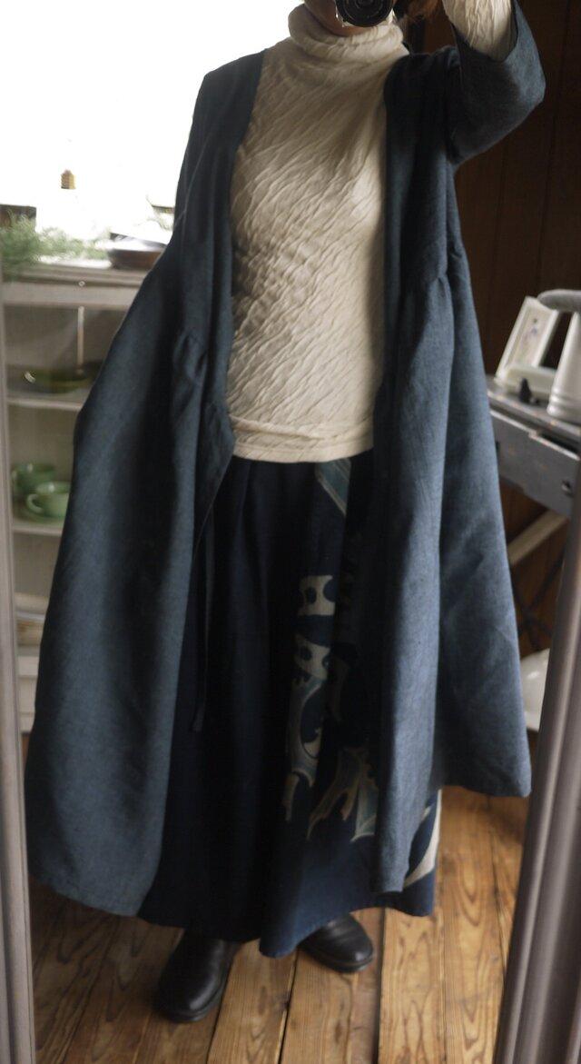正絹紬反物からカシュクールワンピース羽織の画像1枚目