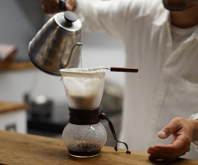 【wafu】リネン ネルドリップ用 コーヒーフィルター / ホワイトか亜麻ナチュラル【1~4人用】z020aの画像1枚目