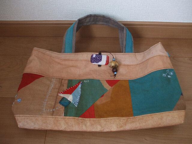 大漁旗と帯芯柿渋染めトートバック 木綿の画像1枚目